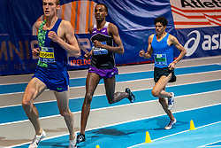 Mahadi Abdi Ali, Mike Foppen, Noah Schutte in action on 3000 meter during the Dutch Indoor Athletics Championship on February 23, 2020 in Omnisport De Voorwaarts, Apeldoorn