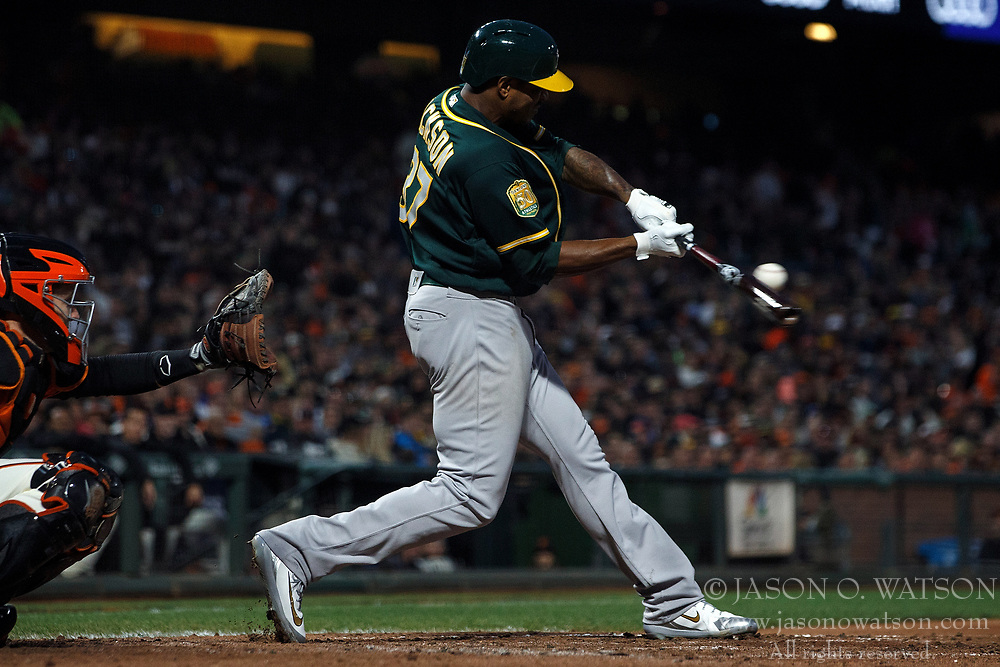 SAN FRANCISCO, CA - JULY 13: Edwin Jackson #37 of the Oakland Athletics at bat against the San Francisco Giants during the fifth inning at AT&T Park on July 13, 2018 in San Francisco, California. The San Francisco Giants defeated the Oakland Athletics 7-1. (Photo by Jason O. Watson/Getty Images) *** Local Caption *** Edwin Jackson
