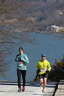 West Point, New York - Runners compete in the West Point Half-Marathon Fallen Comrades Run at the United States Military Academy on March 29, 2015. The Hudson River is in the background.