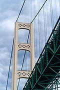 View of the Mackinac Bridge from a boat on Lake Huron; St. Ignace, Michigan, USA.