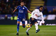 Danny Rose of Tottenham Hotspur in action with Riyad Mahrez of Leicester city (l). .Premier league match, Leicester City v Tottenham Hotspur at the King Power Stadium in Leicester, Leicestershire on Tuesday 28th November 2017.<br /> pic by Bradley Collyer, Andrew Orchard sports photography.
