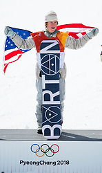 February 10, 2018 - Pyeongchang, South Korea - Seventeen-year-old RED GERARD celebrates his gold medal finish in the Olympic Mens Snowboard Slopestyle event Sunday at Phoenix Snow Park at the Pyeongchang Winter Olympic Games. (Credit Image: © Mark Reis via ZUMA Wire)