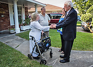 July, 26, 2015, Metairie LA, Gilda and Sam Reed greeting the Bernie and Jane Sanders at their home in Metairie Louisiana where a gathering held for Democratic Party supporters got a chance to meet with Sanders in an intimate setting before the townhall rally in Kenner.