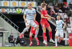 Philip Rejnhold (FC Helsingør) og Kristian Kirkegaard (FC Fredericia) under kampen i 1. Division mellem FC Fredericia og FC Helsingør den 4. oktober 2020 på Monjasa Park i Fredericia (Foto: Claus Birch).