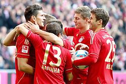 29.10.2011, Allianz Arena, Muenchen, GER, 1.FBL,  FC Bayern Muenchen vs 1. FC Nuernberg, im Bild Jubel nach dem Tor zum 1-0 durch Mario Gomez (Bayern #33)  mit Rafinha (Bayern #13) Bastian Schweinsteiger (Bayern #31) Thomas Mueller (Bayern #25) Toni Kroos (Bayern #39)  // during the match FC Bayern Muenchen vs 1. FC Nuernberg, on 2011/10/29, Allianz Arena, Munich, Germany, EXPA Pictures © 2011, PhotoCredit: EXPA/ nph/  Straubmeier       ****** out of GER / CRO  / BEL ******