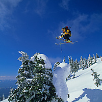"""SKIING. Patrick Shanahan (MR) jumps a """"snow ghost"""" at The Big Mountain Ski Area, Whitefish, MT."""