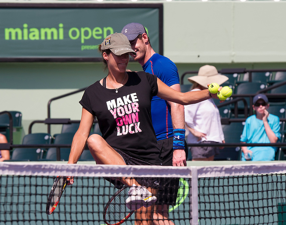 Key BIscayne, FL - March 24:  Andy Murray works out with coach Ameltie Mauresmo and Thanasi Kokkinakis in preparation for his upcoming match at the 2015 Miami Open at Key Biscayne, FL. <br /> <br /> Photographer Andrew Patron - CameraSport/BigShots<br /> <br /> Tennis - 2015 Miami Open presented by Itau - Crandon Park Tennis Center - Key Biscayne, Florida - USA - Day 2, Tuesday 24th March 2015<br /> <br /> © CameraSport - 43 Linden Ave. Countesthorpe. Leicester. England. LE8 5PG - Tel: +44 (0) 116 277 4147 - admin@camerasport.com - www.camerasport.com