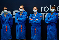 Netherlands before the match against Croatia during the Olympic qualifying tournament. The Dutch water polo players are on the hunt for a starting ticket for the Olympic Games on February 15, 2021 in Rotterdam