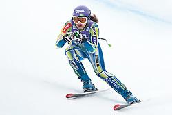 20.01.2011, Tofana, Cortina d Ampezzo, ITA, FIS World Cup Ski Alpin, Lady, Cortina, Abfahrt 2. Training, im Bild Blick von den Tribühnen im Bild Tina Maze (SLO, #6) // Tina Maze (SLO) during FIS Ski Worldcup ladies downhill second training at pista Tofana in Cortina d Ampezzo, Italy on 20/1/2011. EXPA Pictures © 2011, PhotoCredit: EXPA/ J. Groder