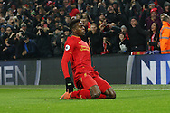 Divock Origi of Liverpool celebrates after scoring his teams 1st goal. Premier League match, Liverpool v Sunderland at the Anfield stadium in Liverpool, Merseyside on Saturday 26th November 2016.<br /> pic by Chris Stading, Andrew Orchard sports photography.