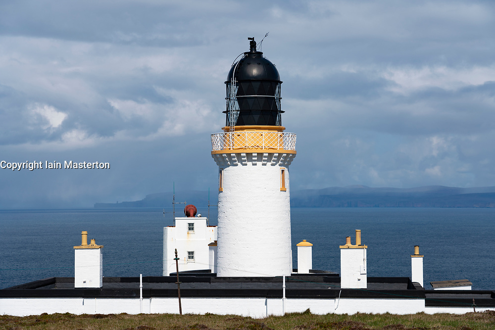 Dunnet Head Lighthouse on the North Coast 500 tourist motoring route in northern Scotland, UK