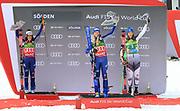 SOELDEN, AUSTRIA. OCTOBER 17 2020:  1st Women's Giant Slalom as part of the Alpine Ski World Cup in Solden on October 17, 2020; Run 2, From left, Federica Brignone (ITA), Marta Bassino (ITA) and third Petra Vlhova (SVK) ( Pierre Teyssot/ESPA Images-Image of Sport)