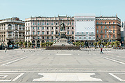 Milan, empty space during the massive shut down. Piazza del Duomo