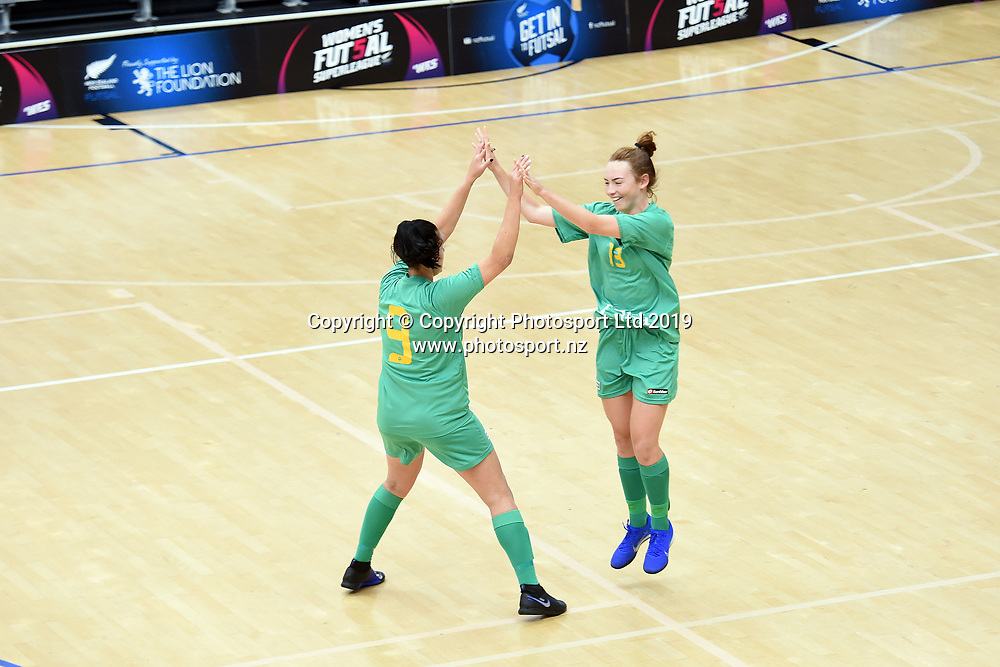 Central's players celebrate a goal during the Women's Futsal SuperLeague Tournament, ASB Sports Centre, Wellington, Sunday 17th February 2019. Copyright Photo: Raghavan Venugopal / © www.Photosport.nz 2019