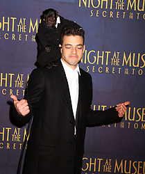 Dec. 11, 2014 - New York, New York, U.S. - Actor RAMI MALEK and DEXTER THE MONKEY attend the New York premiere of 'Night at the Museum: Secret of The Tomb' held at the Ziegfeld Theater. (Credit Image: © Nancy Kaszerman/ZUMAPRESS.com)