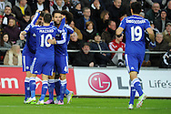 Oscar of Chelsea celebrates with his teammates after he scores his teams 4th goal. Barclays Premier League match, Swansea city v Chelsea at the Liberty Stadium in Swansea, South Wales on Saturday 17th Jan 2015.<br /> pic by Andrew Orchard, Andrew Orchard sports photography.