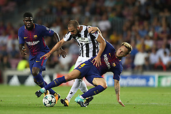 September 12, 2017 - Barcelona, Spain - Ivan Rakitic of FC Barcelona duels for the ball with Gonzalo Higuain of Juventus during the UEFA Champions League, Group D football match between FC Barcelona and Juventus FC on September 12, 2017 at Camp Nou stadium in Barcelona, Spain. (Credit Image: © Manuel Blondeau via ZUMA Wire)