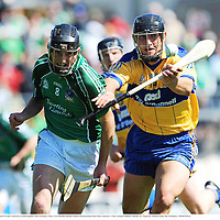 22 June 2008; Donal O'Grady, Limerick, in action against Tony Carmody, Clare. GAA Hurling Munster Senior Championship Semi-Final, Limerick v Clare, Semple Stadium, Thurles, Co. Tipperary. Picture credit: Ray McManus / SPORTSFILE