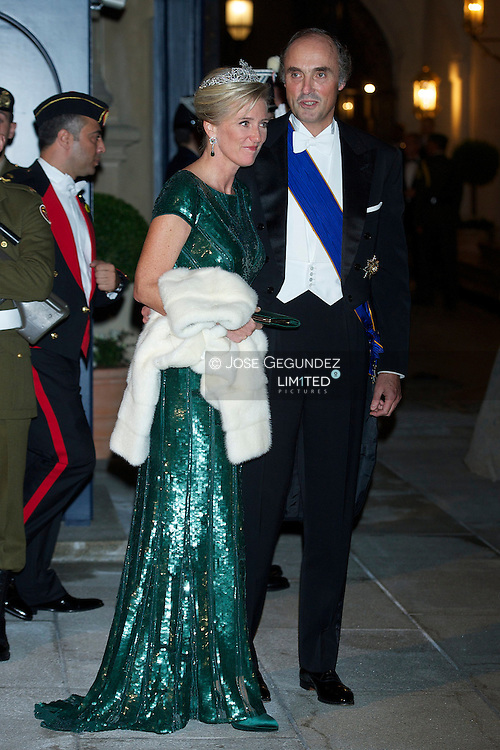 TRH Princess Astrid and Prince Lorenz of Belgium attend a Gala dinner for the wedding of HRH Guillaume the Hereditary Grand Duke and Countess Stephanie de Lannoy at Palais Grand-Ducal on October 19, 2012 in Luxembourg