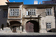 17th century town house with 16th century enclosed balcony  and 14th century ground floor windows- Sopron, Hungary .<br /> <br /> Visit our HUNGARY HISTORIC PLACES PHOTO COLLECTIONS for more photos to download or buy as wall art prints https://funkystock.photoshelter.com/gallery-collection/Pictures-Images-of-Hungary-Photos-of-Hungarian-Historic-Landmark-Sites/C0000Te8AnPgxjRg
