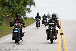 Cris and Pat Simmons riding side by side in the Motorcycle Cannonball coast to coast vintage run. Stage 5 (229 miles) from Bowling Green, OH to Bourbonnais, IL. Wednesday September 12, 2018. Photography ©2018 Michael Lichter.