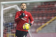 Aberdeen goalkeeper Gary Woods (43) warming up ahead of the Scottish Premiership match between Aberdeen and Hamilton Academical FC at Pittodrie Stadium, Aberdeen, Scotland on 20 October 2020.