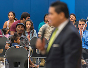 Attendees listen as Houston ISD Superintendent Richard Carranza comments during a stop of the Listen & Learn tour at Marshall Elementary School, September 20, 2016.