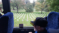 Ray Spiro in a quiet moment as Honor Flight Maine 2018 passes through Arlington National Cemetery.