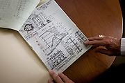 Record sketches by Investigative Engineering Services, Assistant Commissioner Tim Lynch in the federal City of New York Buildings Department, Manhattan. <br /> <br /> From the chapter entitled 'The Skyline' and from the book 'Risk Wise: Nine Everyday Adventures' by Polly Morland (Allianz, The School of Life, Profile Books, 2014).