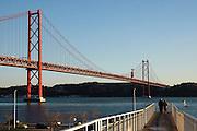 Bridge over Tagus river as seen from Lisbon.