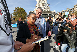 September 29, 2018 - Paris, Ile-de-France, France - French former justice minister Christiane Taubira (C) accompanied by the director general of Handicap International France Jean-Marc Boivin (R), takes part in the 24th edition of the the annual demonstration by the NGO Handicap International in Paris, Place de la Republique, France, September 29, 2018. (Credit Image: © Michel Stoupak/NurPhoto/ZUMA Press)
