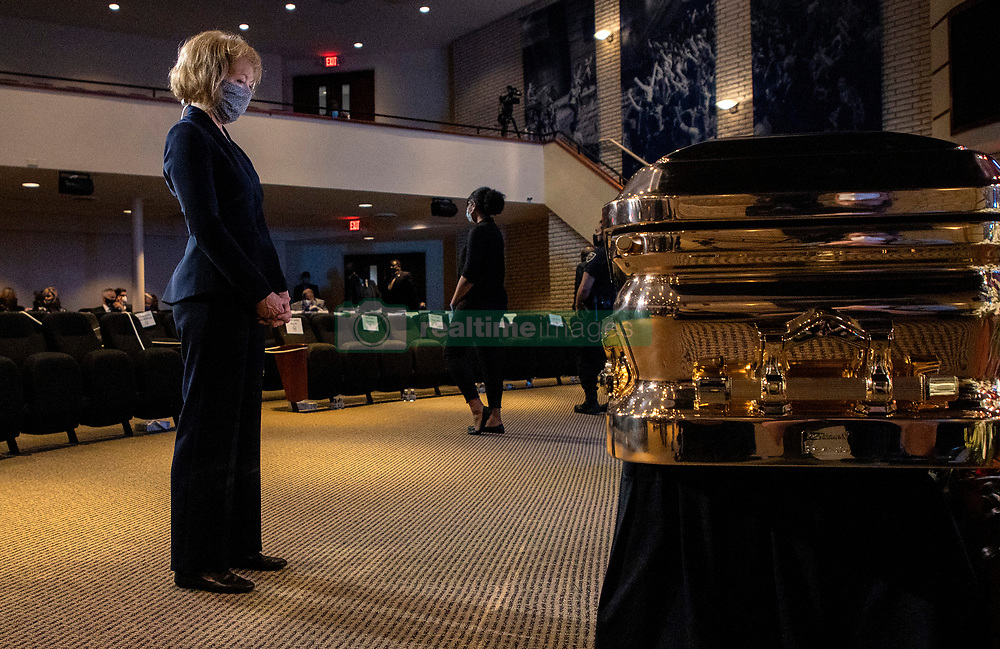 Sen. Tina Smith (D-Minn.) stands at the casket before a memorial service for George Floyd at North Central University in Minneapolis on Wenesday, June 4, 2020. Photo by Carlos Gonzalez/Minneapolis Star Tribune/TNS/ABACAPRESS.COM