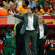 Bursaspor's head coach Ertugrul Saglam during their Turkish Super League soccer match Galatasaray between Bursaspor at the TT Arena at Seyrantepe in Istanbul Turkey on Sunday 02 September 2012. Photo by TURKPIX