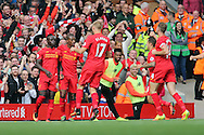 Sadio Mane of Liverpool (l) celebrates with his teammates after scoring his teams 3rd goal.  Premier League match, Liverpool v Hull City at the Anfield stadium in Liverpool, Merseyside on Saturday 24th September 2016.<br /> pic by Chris Stading, Andrew Orchard sports photography.