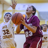Rehoboth Lynx LeahRae Francisco (23) gets past Tohatchi Cougar Keisha Cadman (32) for a shot Tuesday at Tohatchi High School.