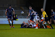 Edinburgh Rugby scrum half Charlie Shiel passes the ball during the European Champions Cup match Sale Sharks -V- Edinburgh Rugby at The AJ Bell Stadium, Greater Manchester,England United Kingdom, Saturday, December 19, 2020. (Steve Flynn/Image of Sport)