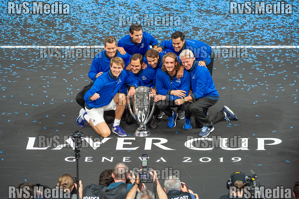 GENEVA, SWITZERLAND - SEPTEMBER 22: Roger Federer with the Team Europe celebrates with the trophy after winning against Team World during Day 3 of the Laver Cup 2019 at Palexpo on September 20, 2019 in Geneva, Switzerland. The Laver Cup will see six players from the rest of the World competing against their counterparts from Europe. Team World is captained by John McEnroe and Team Europe is captained by Bjorn Borg. The tournament runs from September 20-22. (Photo by Monika Majer/RvS.Media)