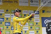 Edvald Boasson Hagen celebrates after winning the Aviva Tour of Britain, Regent Street, London, United Kingdom on 13 September 2015. Photo by Ellie Hoad.