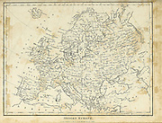 Map of Modern (1810) Europe Copperplate engraving From the Encyclopaedia Londinensis or, Universal dictionary of arts, sciences, and literature; Volume VII;  Edited by Wilkes, John. Published in London in 1810