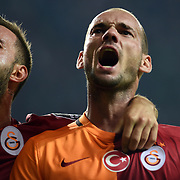 Galatasaray's Emre Colak (L) and Wesley Sneijder (R) during their Turkish Super League soccer match Torku Konyaspor between Galatasaray at the Konya Buyuksehir Belediyesi Torku Arena at Selcuklu in Konya Turkey on Saturday, 29 August 2015. Photo by TVPN/TURKPIX