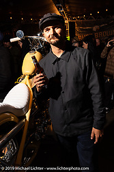 James Juarez with his 1951 custom Harley-Davidson People's Champ Panhead at the Born Free pre-party and People's Champ finals at Cooks Corner before the big show. Trabuco Canyon, CA, USA. Friday, June 21, 2019. Photography ©2019 Michael Lichter.