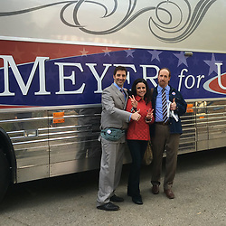 """Julia Louis-Dreyfus releases a photo on Twitter with the following caption: """"""""#meyerforsenate #90sflashback @OfficialJLD @MrTonyHale @mrmattwalsh #veep #bts"""""""". Photo Credit: Twitter *** No USA Distribution *** For Editorial Use Only *** Not to be Published in Books or Photo Books ***  Please note: Fees charged by the agency are for the agency's services only, and do not, nor are they intended to, convey to the user any ownership of Copyright or License in the material. The agency does not claim any ownership including but not limited to Copyright or License in the attached material. By publishing this material you expressly agree to indemnify and to hold the agency and its directors, shareholders and employees harmless from any loss, claims, damages, demands, expenses (including legal fees), or any causes of action or allegation against the agency arising out of or connected in any way with publication of the material."""