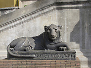 Italy, Rome, The Vatican Museum Basalt lion sculpture in front of Egyptian Museum in Vatican
