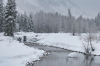 Methow River in winter, near Mazama, North Cascades Washington
