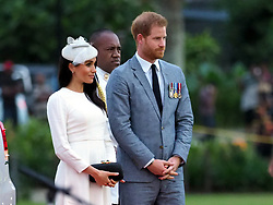 The Duke of Sussex and Duchess of Sussex are welcomed in Fiji with a traditional welcoming ceremony. The ceremony saw the Duke presented with a cup of Kava which he drank to the delight of the Fijians who braved the rain.<br /><br />23 October 2018.<br /><br />Please byline: Vantagenews.com