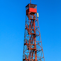 The red forest fire 110 feet tall restored ookout tower in Duncannon is both a roadside attraction and local landmark.