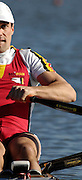 Seville. SPAIN, 18.02.2007, BEL M1X Tim MAEYENS, moves away from the start pontoon during Sunday morning's  heats, at the FISA Team Cup, held on the River Guadalquiver course. [Photo Peter Spurrier/Intersport Images]    [Mandatory Credit, Peter Spurier/ Intersport Images]. , Rowing Course: Rio Guadalquiver Rowing Course, Seville, SPAIN,