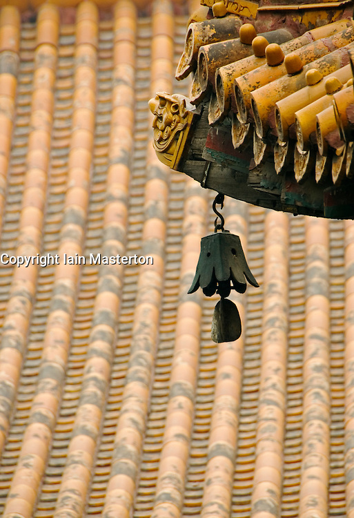 Detail of bell in historic Lama Temple in Beijing China