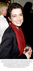 MISS ALEXANDRA POLIZZI daughter of Olga Polizzi daughter of Lord Forte, at a party in London on 29th April 2002.OZL 201