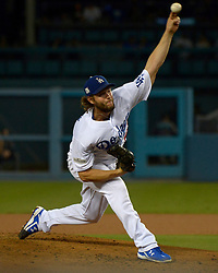 October 6, 2017 - Los Angeles, California, U.S. - Los Angeles Dodgers starting pitcher Clayton Kershaw throws to the plate against the Arizona Diamondbacks in the second inning of a National League Divisional Series baseball game at Dodger Stadium on Friday, Oct. 06, 2017 in Los Angeles. (Photo by Keith Birmingham, Pasadena Star-News/SCNG) (Credit Image: © San Gabriel Valley Tribune via ZUMA Wire)
